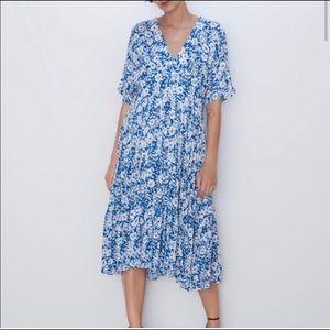 Zara blue floral v-neck dress